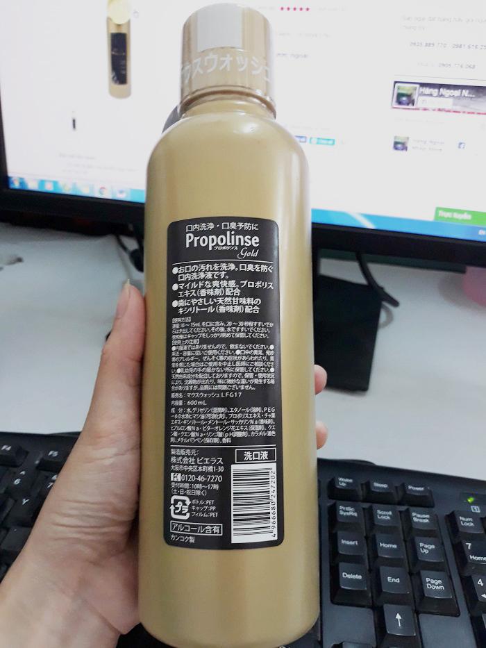 thành phần của nước súc miệng Propolinse Gold 600ml 1