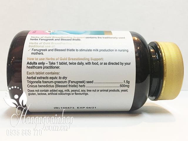 Viên uống lợi sữa herbs of gold breastfeeding support của Úc, giá tốt