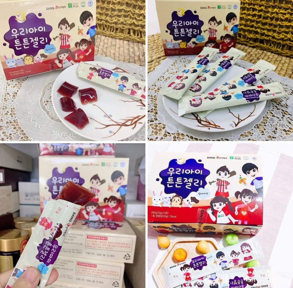 Thạch sâm Sanga Hàn Quốc cho trẻ em, hộp 14 gói x 20g 1