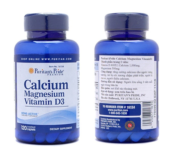 Viên uống Calcium Magnesium Vitamin D3 chính hãng Mỹ 100v 8